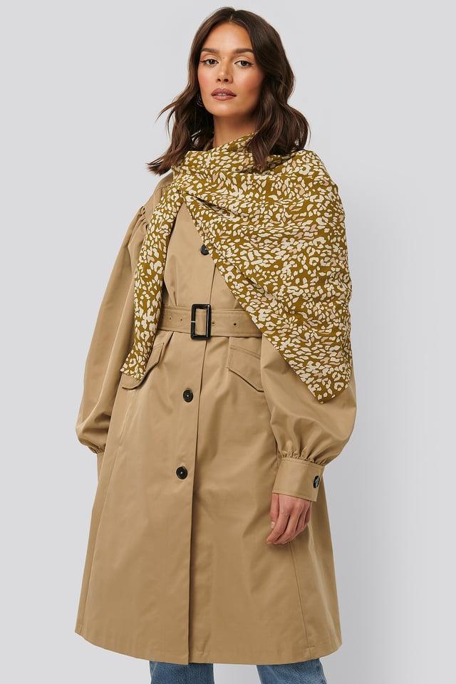 Khaki Abstract Leopard Scarf