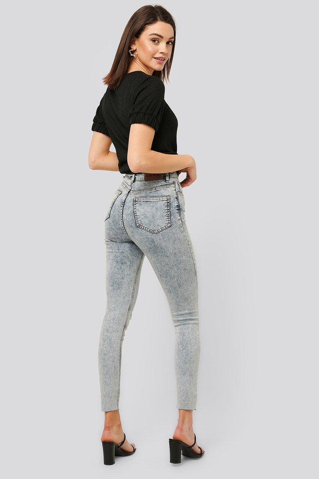 Acid Wash Skinny Jeans Light Blue