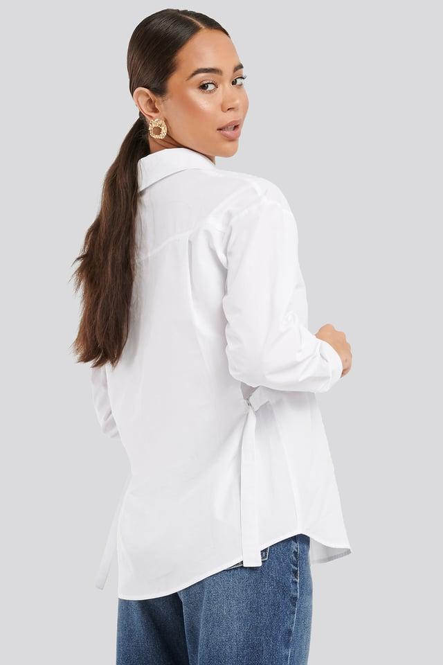 White Adjustable Side Strap Oversized Shirt