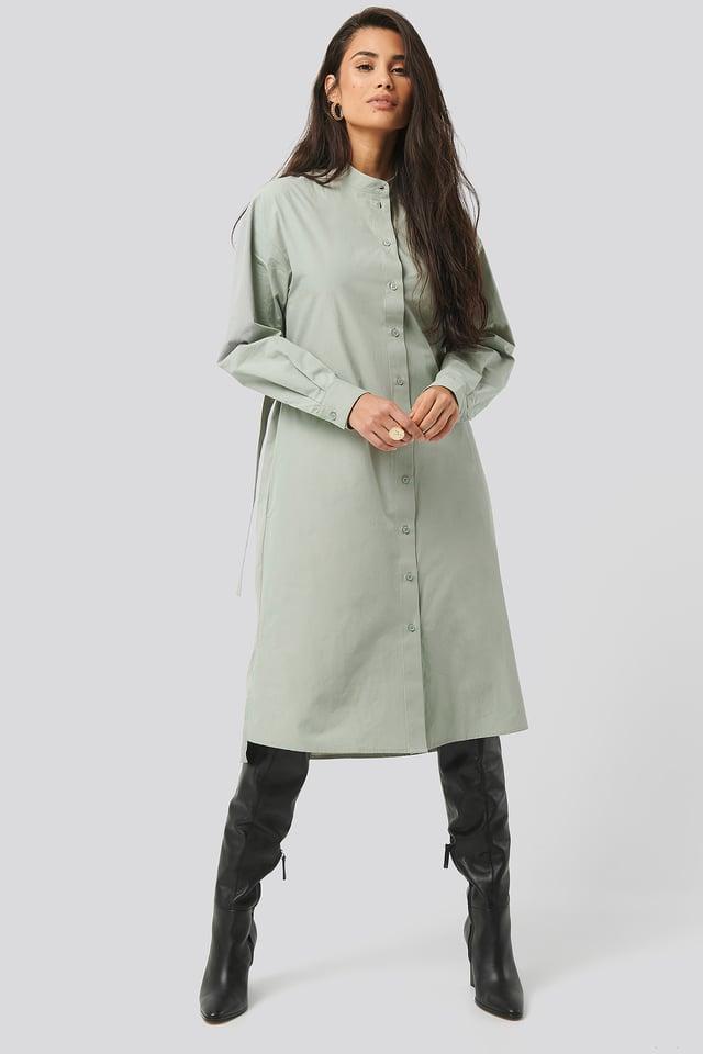 Adjustable Side Strap Shirt Dress Green