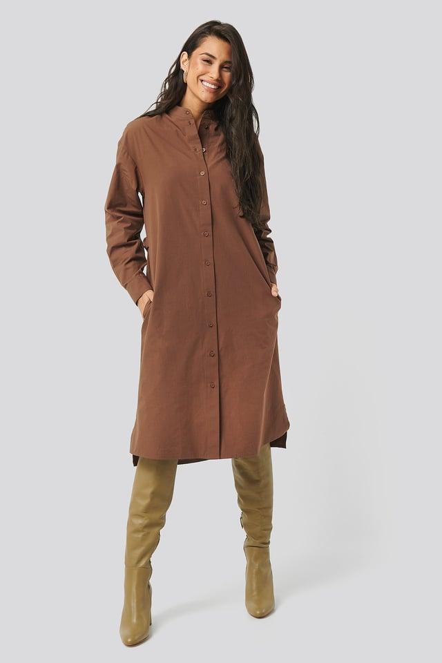 Adjustable Side Strap Shirt Dress Brown