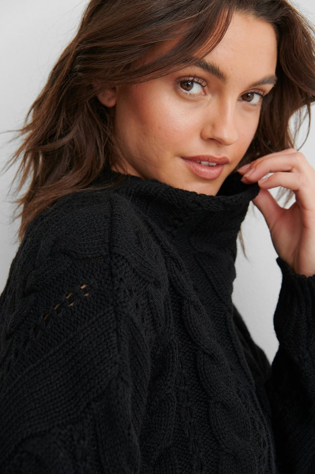 Black All Over Cable Knitted Sweater