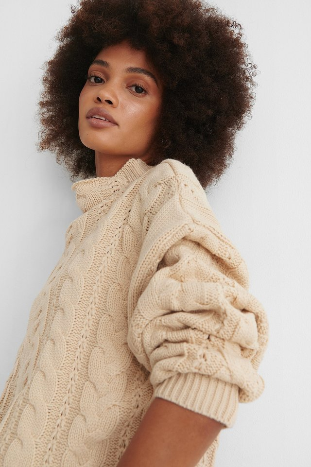 Beige Recycled All Over Cable Knitted Sweater