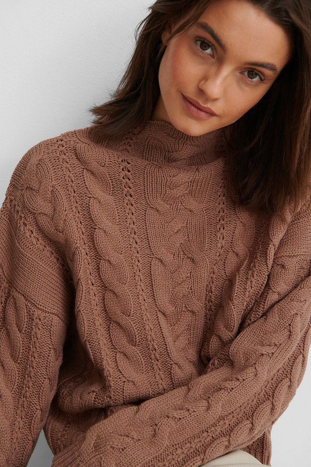 Dusty Dark Pink All Over Cable Knitted Sweater