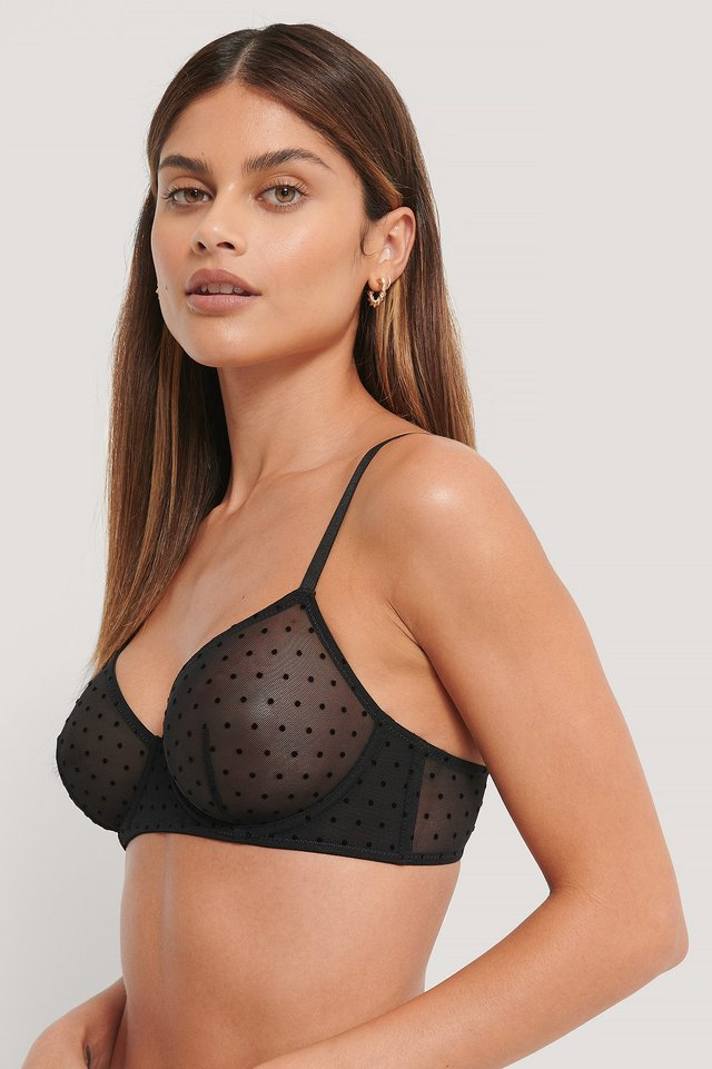 All Over Dot Mesh Bra Black