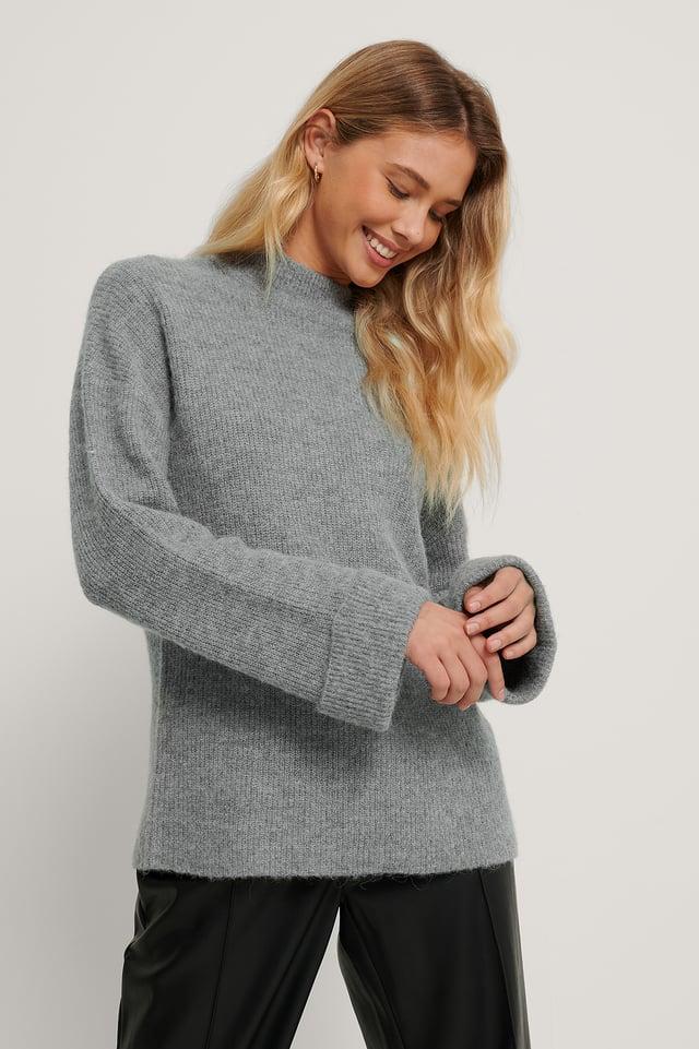 Alpaca Blend High Neck Knitted Sweater Grey