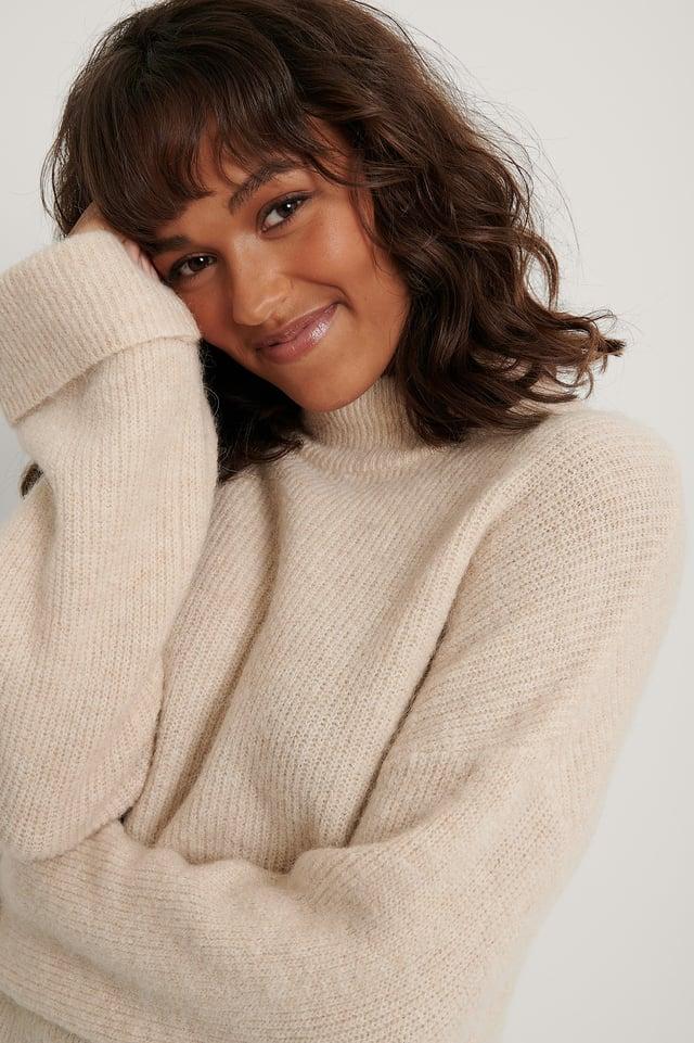 Light Beige Alpaca Blend High Neck Knitted Sweater