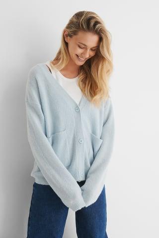 Light Blue Alpaca Blend Knitted Cardigan