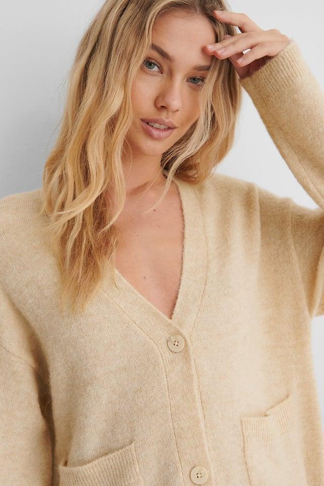 Light Beige Alpaca Blend Knitted Cardigan