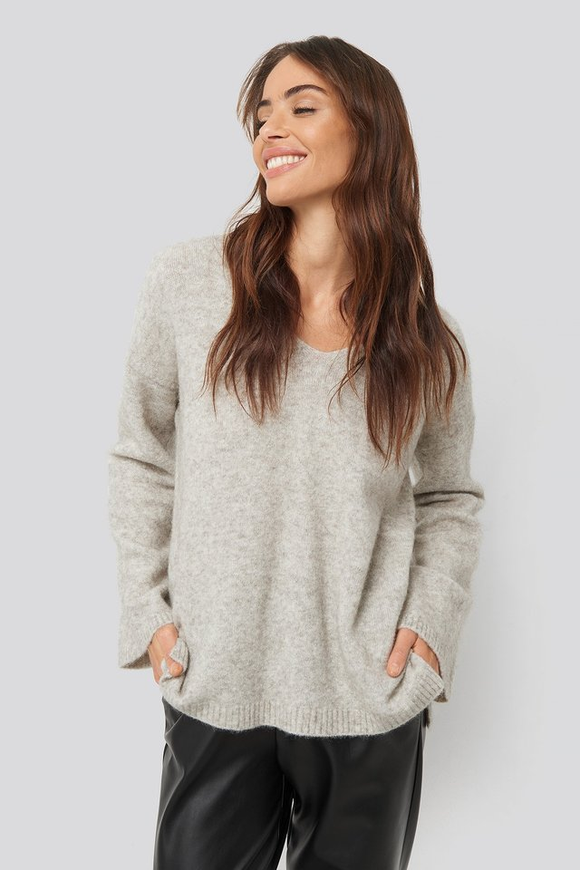 Light Grey Alpaca Knitted V-Neck Sweater