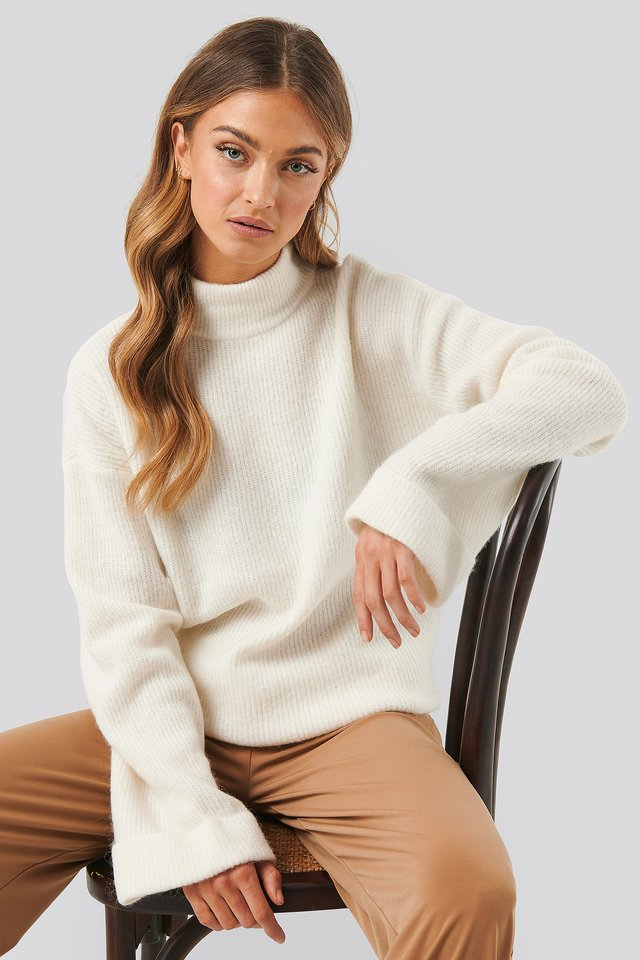 Alpaca Wool Blend High Neck Sweater Offwhite