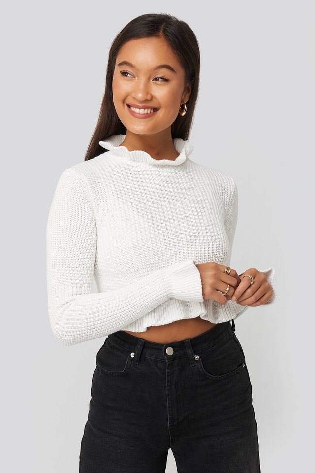 Andrea Badendyck Ruffle Knitted Top Statement By NA-KD Influencers