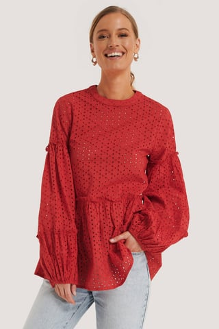 Bright Red Anglaise Balloon Sleeve Frill Blouse