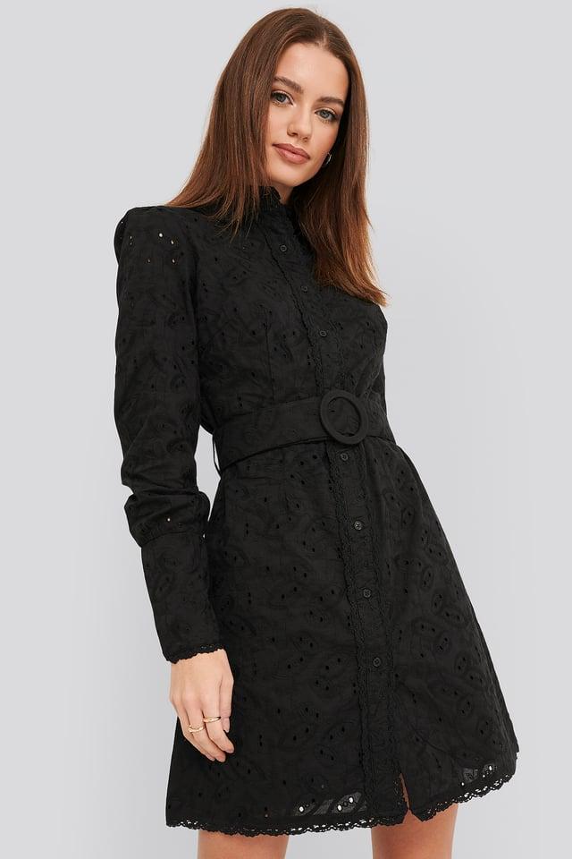 Black Anglaise Collar Mini Dress