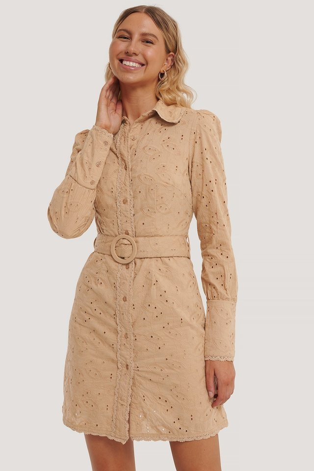 Beige Anglaise Collar Mini Dress