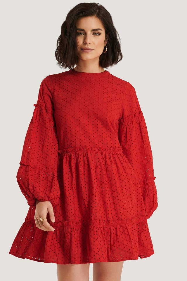 Anglaise Balloon Sleeve Frill Dress Bright Red