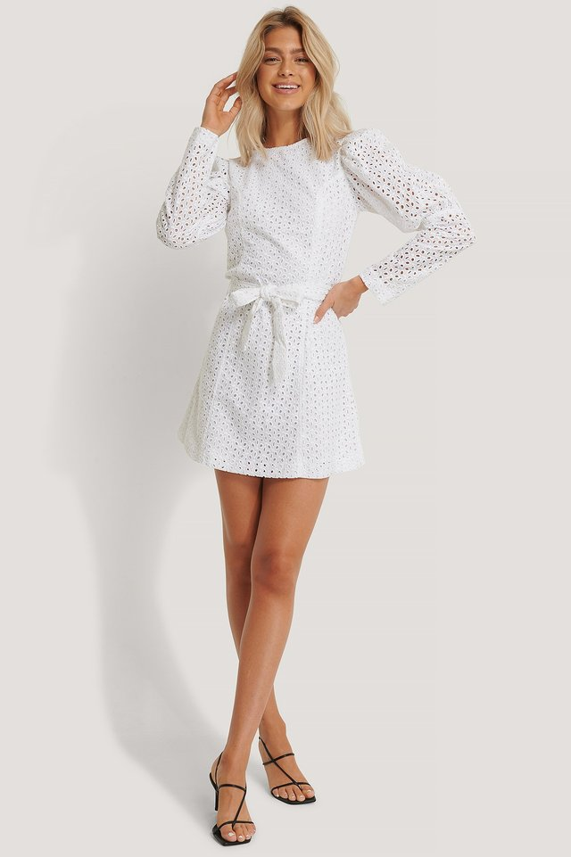 Anglaise LS Mini Dress White