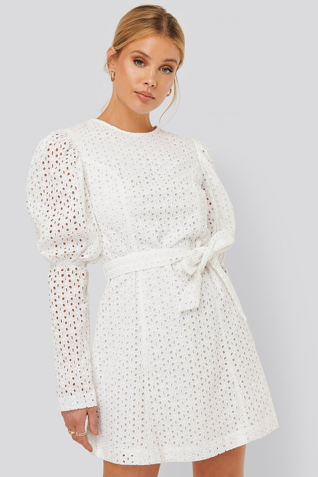 Anglaise LS Mini Dress White