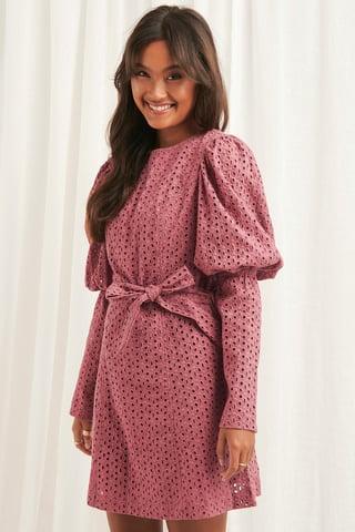 Dark Pink Anglaise LS Mini Dress