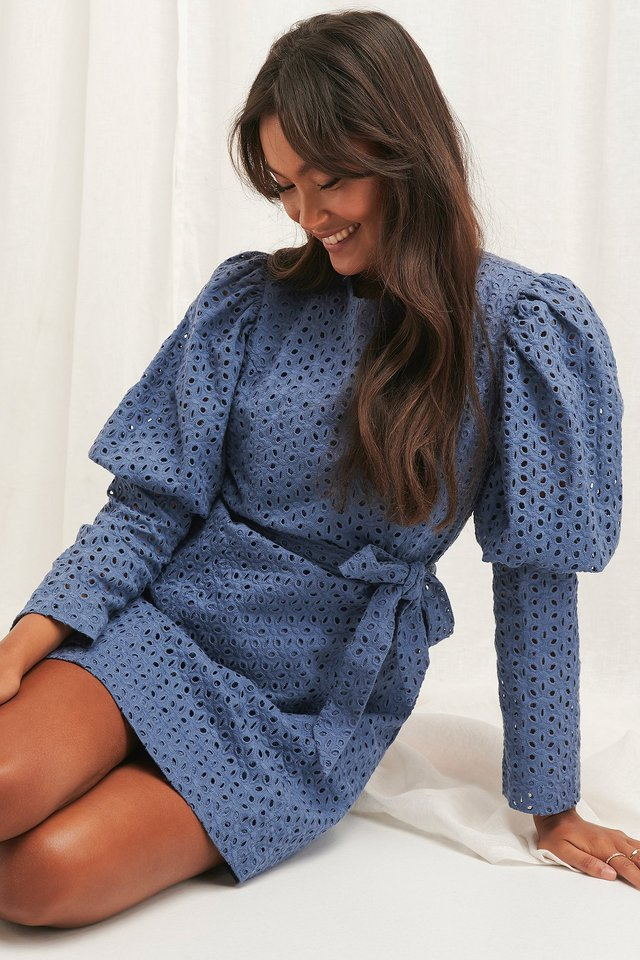 Anglaise LS Mini Dress Stone Blue