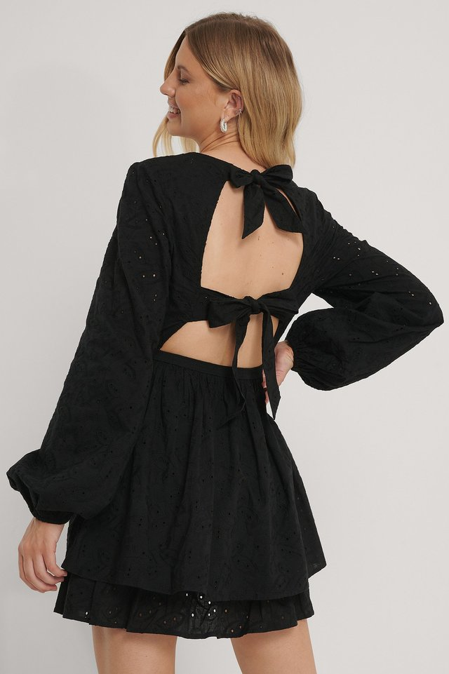 Anglaise Open Back Dress Black