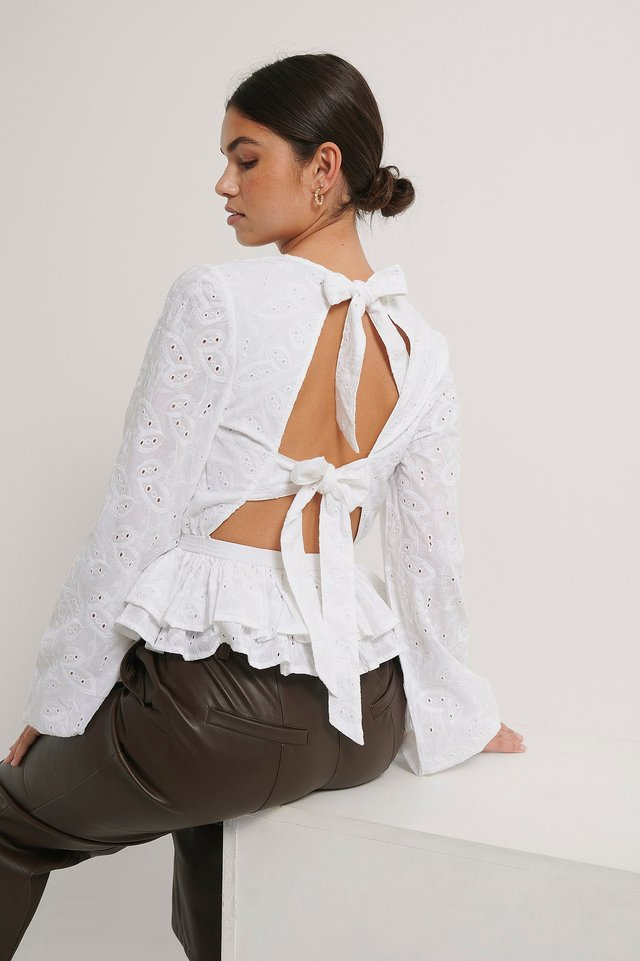 Anglaise Open Back Top White