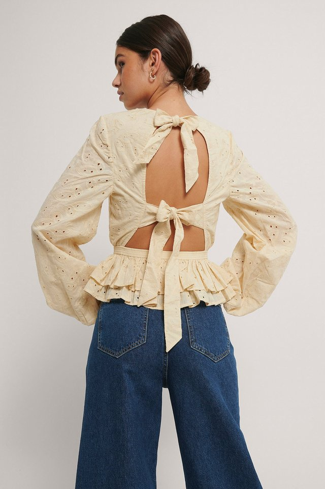Anglaise Open Back Top Beige