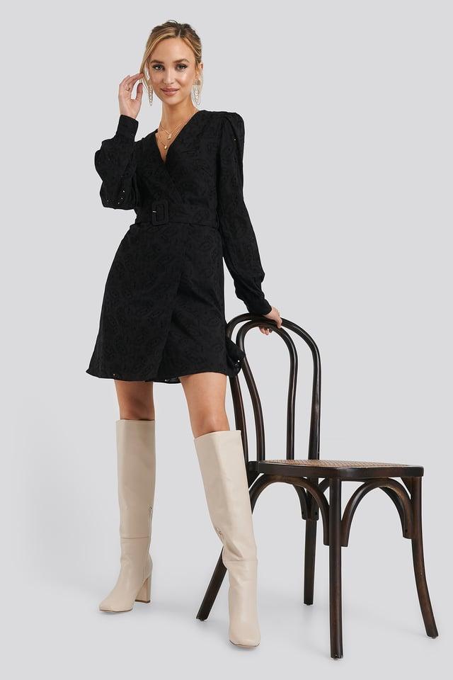Anglaise Overlap Dress Black