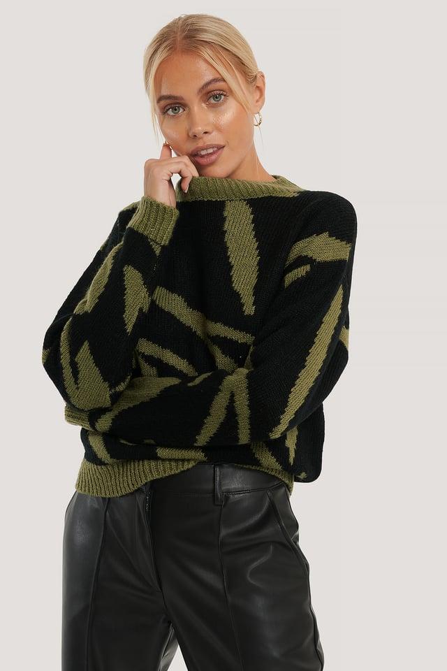 Animal Knitted Sweater Black/Khaki