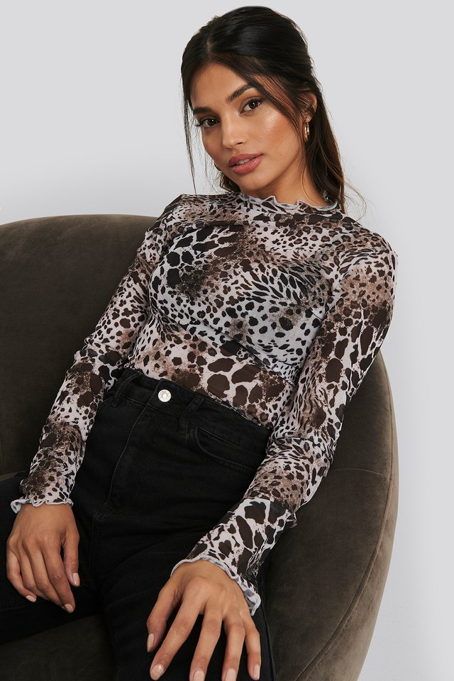 Animal Printed Mesh Top Printed