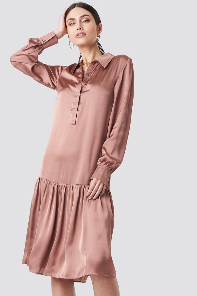 Button Detail Shirt Dress Dusty Dark Pink
