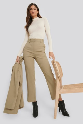 Light Dusty Green Ankle-Length Suit Pants