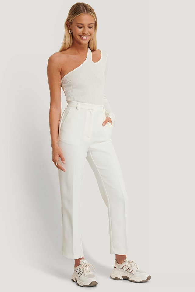 Ankle Pleat Detail Pants Offwhite