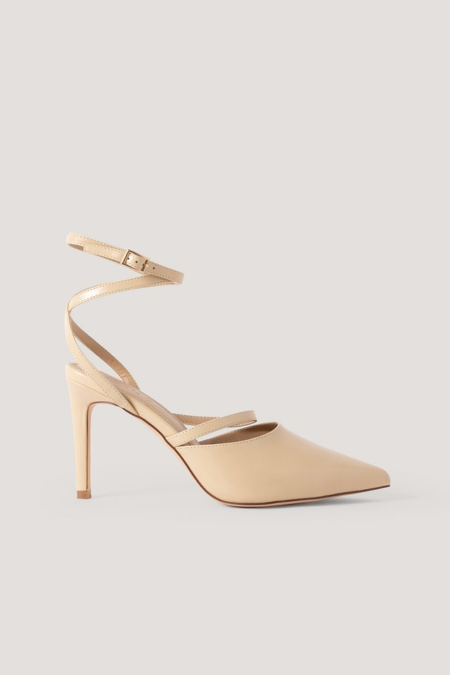 Nude Ankle Straps Pointy Pumps