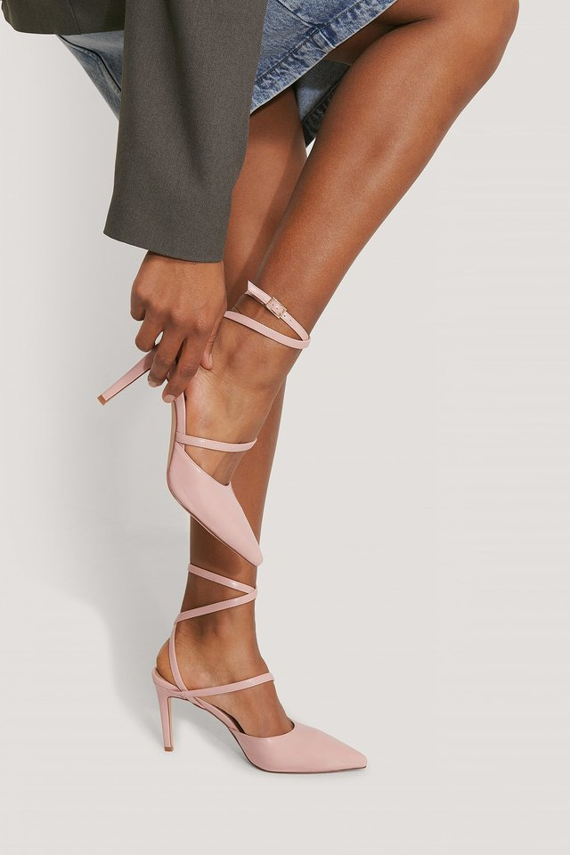 Ankle Straps Pointy Pumps Dusty Pink