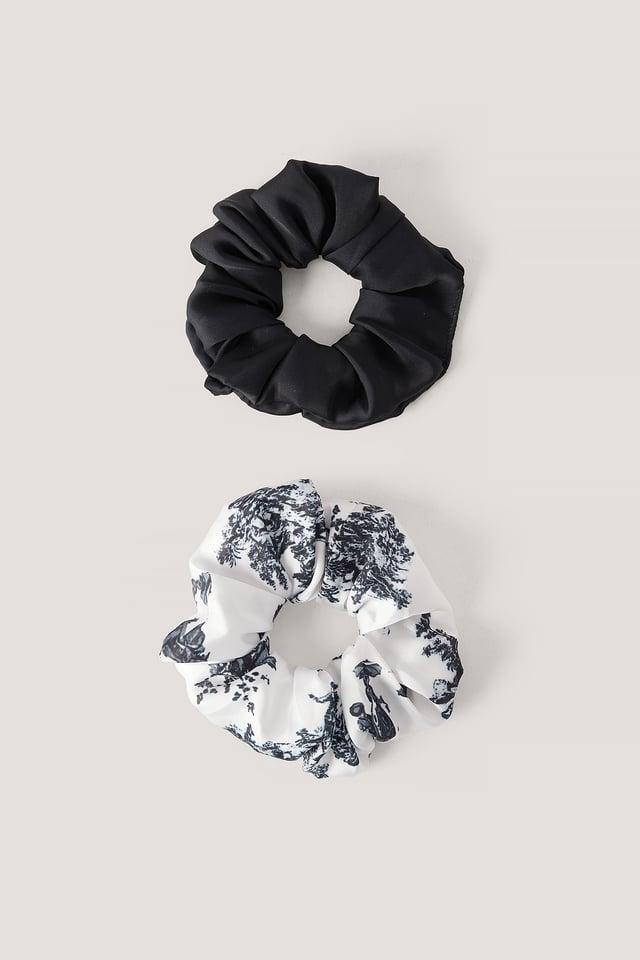 Antique Printed Scrunchie Set Black/White