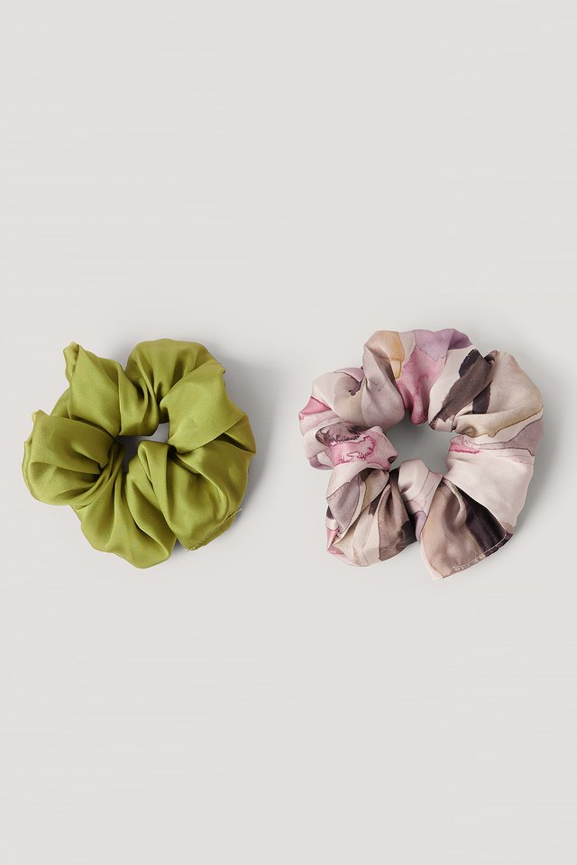 Antique Printed Scrunchie Set Multicolor