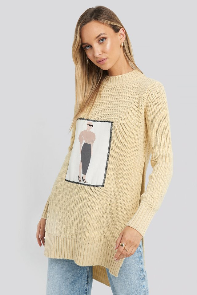 Applique Oversized Sweater Off White
