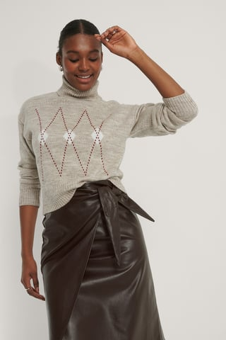 Pale Mauve Argyle Knitted Sweater