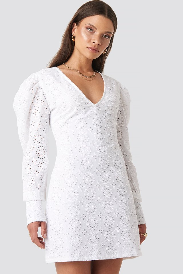 Arielle Puff Sleeve Dress White
