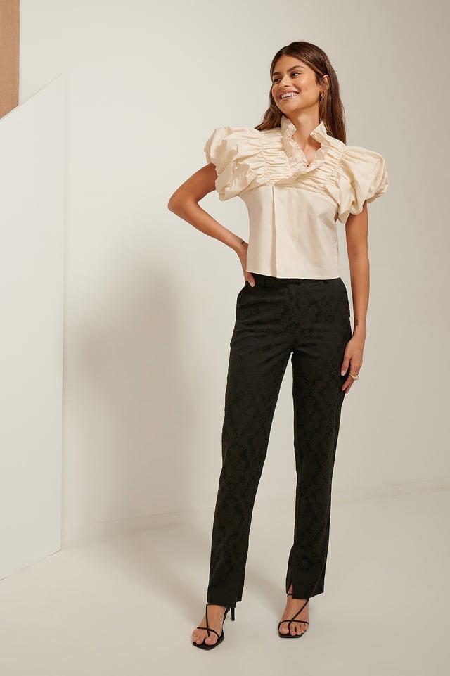 Jacquard Slit Pants Black