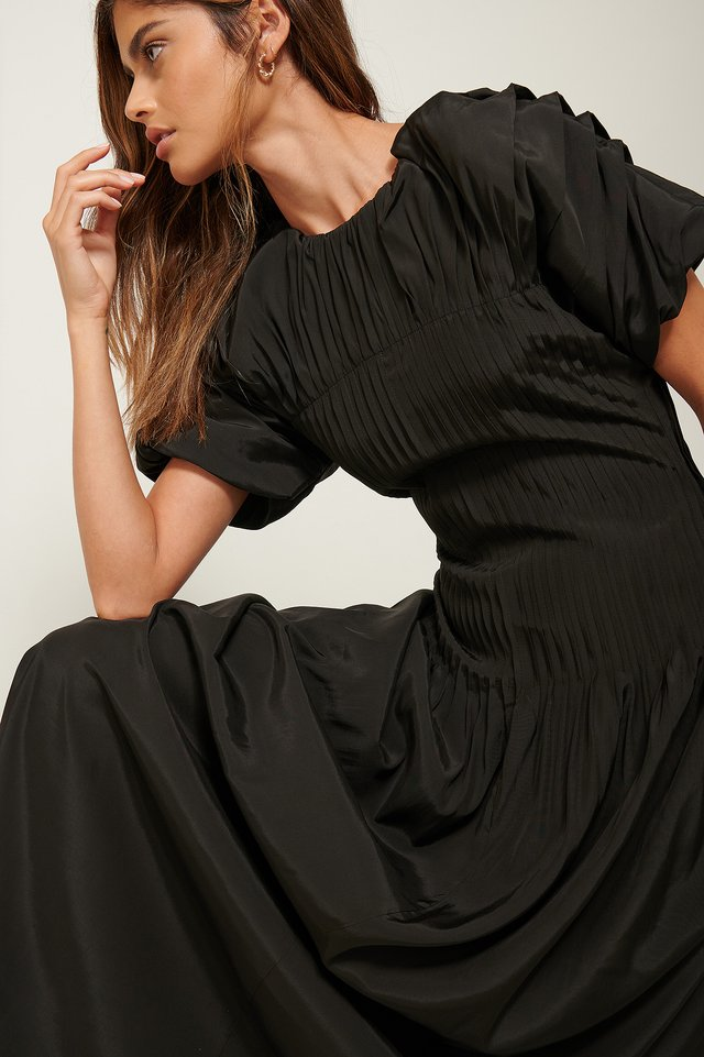 Pintucked Dress Black