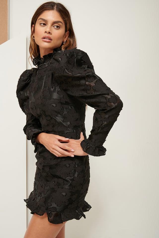 Volume Lace Mini Dress Black