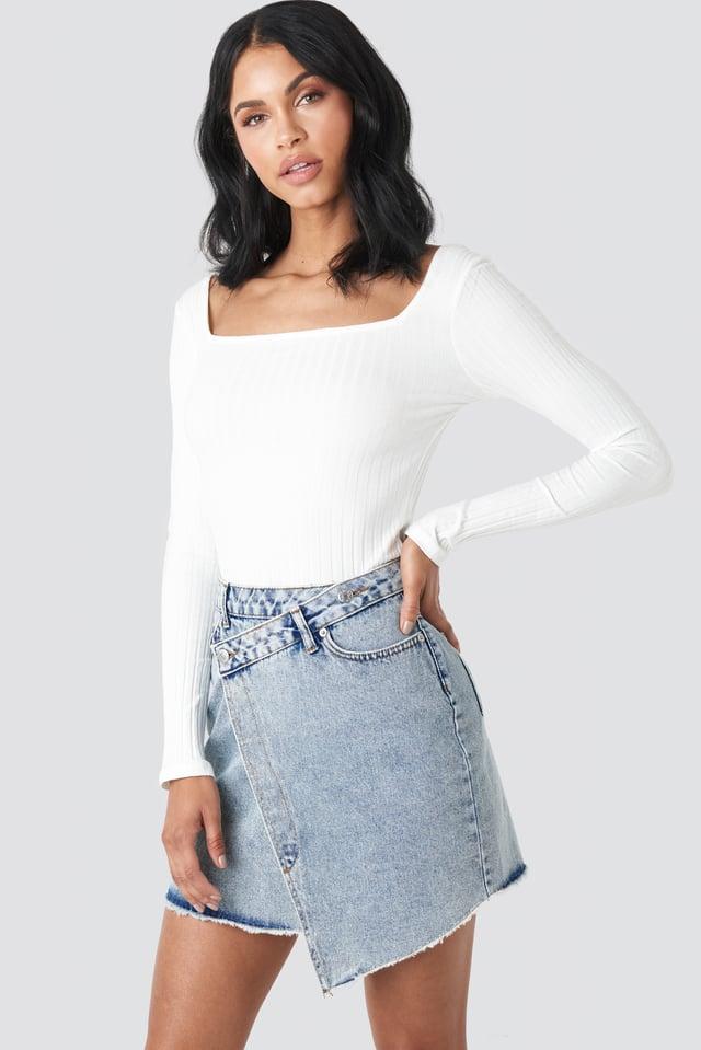 Assymetric Closure Denim Skirt Mid Blue