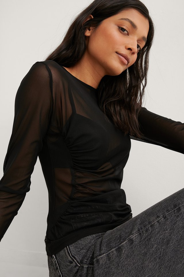Black Asymmetric Gathered Mesh Top