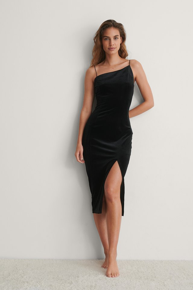 Black Asymmetric Strap Velvet Dress