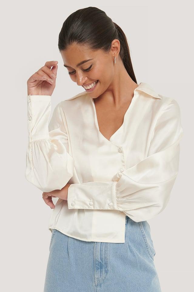 Asymmetrische Bluse White