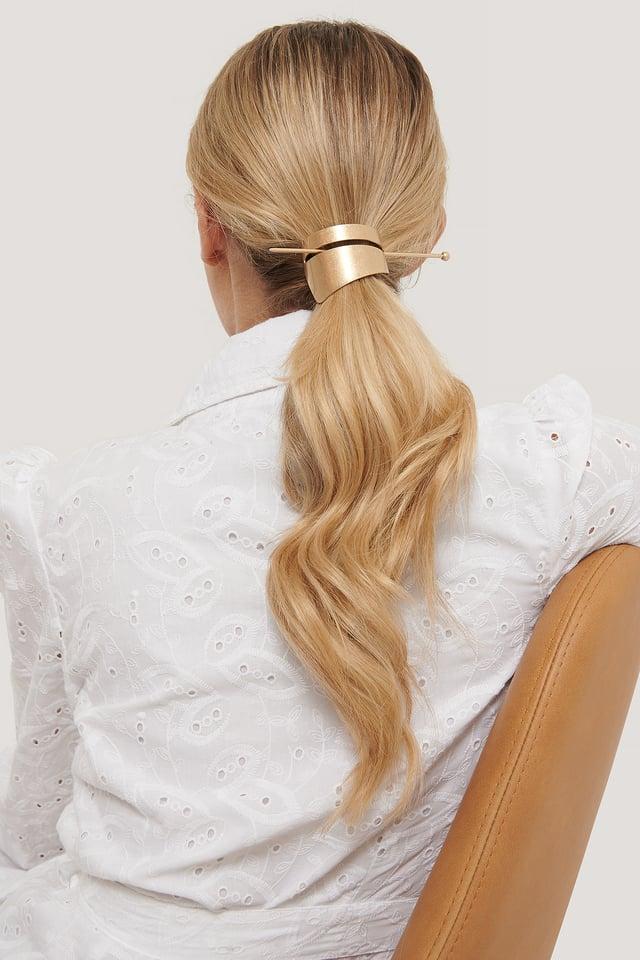 Asymmetric Matte Hair Pin Gold