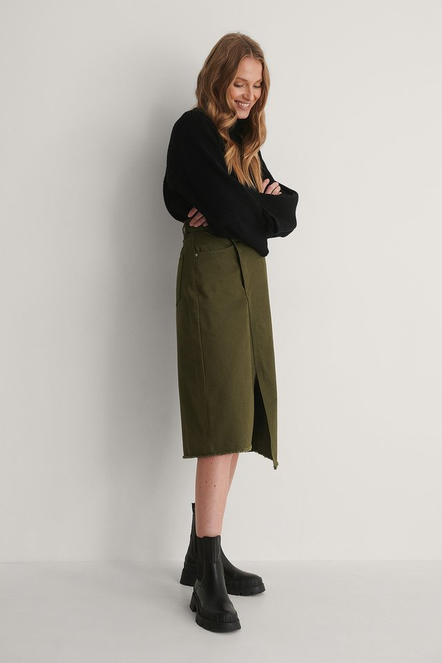 Dark Green Organic Asymmetric Denim Skirt