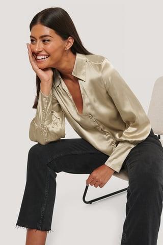 Beige Asymmetrische Bluse